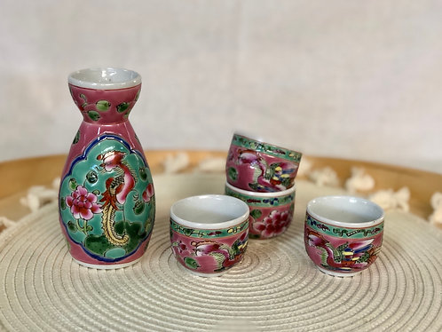 Peranakan Sake bottle set (with 4 cups)