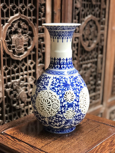 Blue and white double wall x hand-carved vase