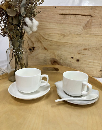 Cup with saucer & spoon (3 designs)