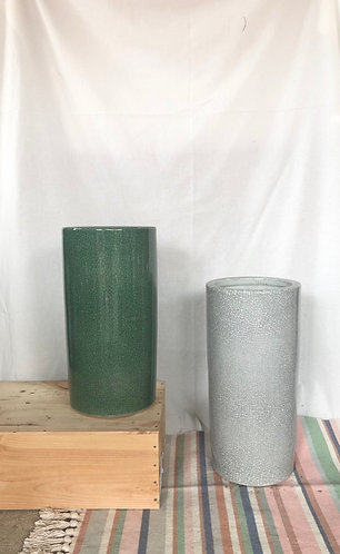 Crackled green / grey umbrella stand