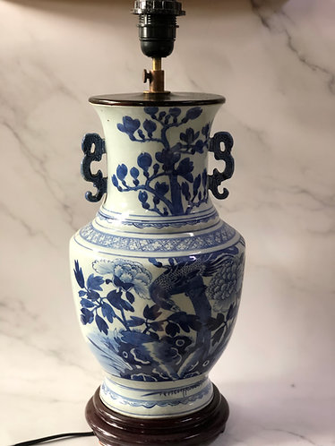 Blue and white tall lamp