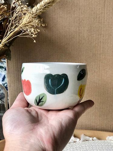 Porcelain handpainted floral cup