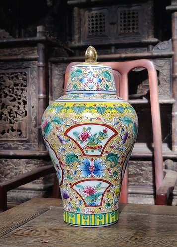 Hand Painted Tall Urn
