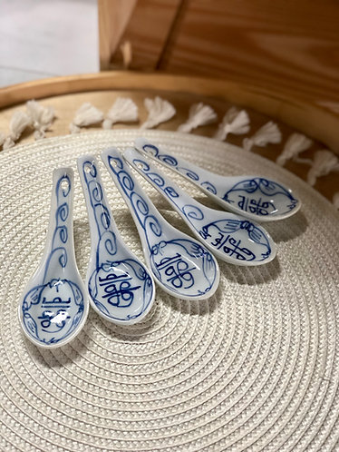 Blue and white spoon (5 in a set)