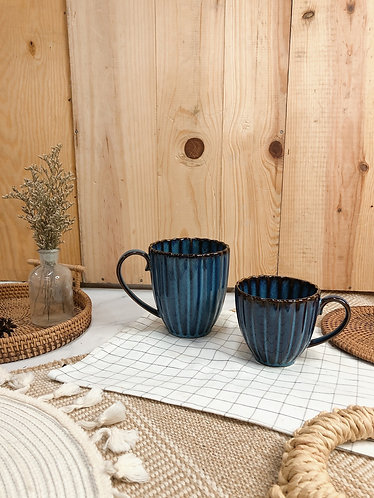 Scallop x blue | Cup with handle  (2 sizes)