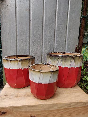 Geometrical Red Base Glazed Pot (3 Sizes)