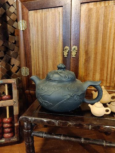 Blue Carved Teapot