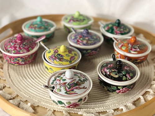 Peranakan chili bowl with spoon (9 colours)
