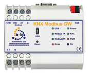 KNX Modbus Gateway, EIB/KNX Bussystem, Gateway between Modbus RTU & EIB/KNX to integrate Modbus RTU compatible devices. EIB/KNX Bussystem, Modbus connection through screw terminals, RTU (RS-485), Read Coils, Read Discrete Inputs, Read Holding Registers, Read Input Registers, Write Single Coil, Write Single Register, Write Multiple Coils, Write Multiple Registers,