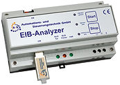 The recording device for EIB/KNX diagnostics without a connected PC. EIBAnalyzer,EIB/KNX-telegrams,DIN rail housing, KNX, EIB, Building automation EIB/KNX, b+b