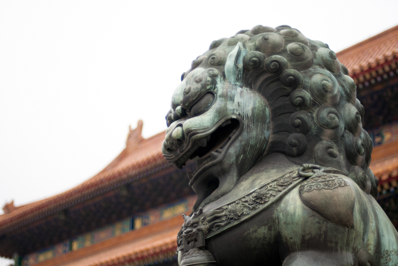 Reportage, Chinese lion statue