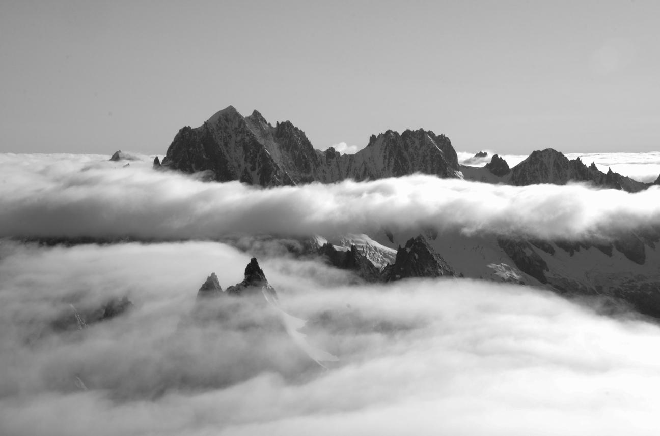 Landscape, mountains peaks clouds