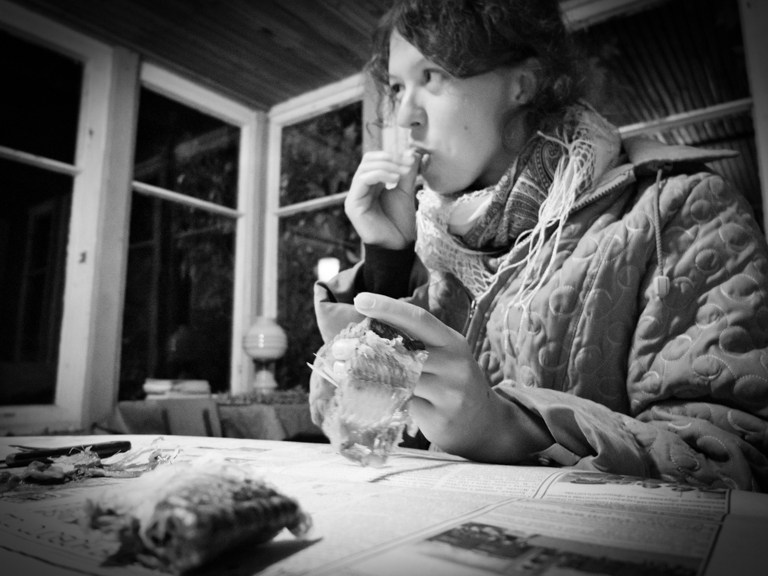 Eating raw fish, Russian countryside