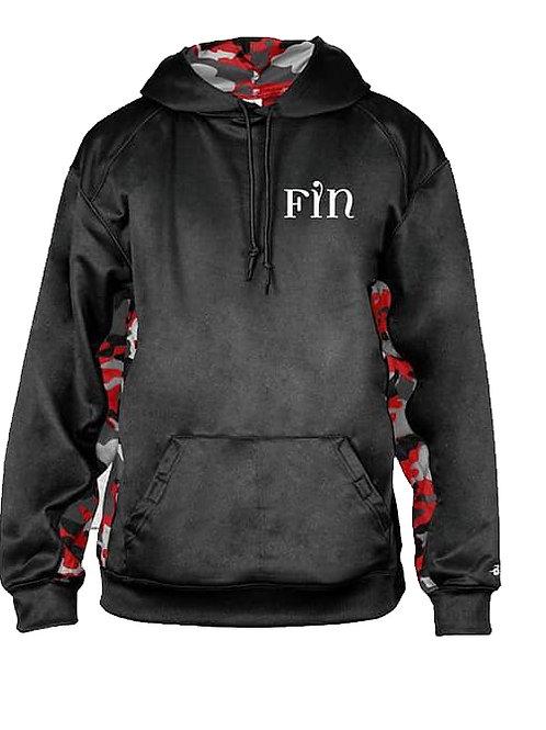 Black Camo Color Block Hooded Sweatshirt