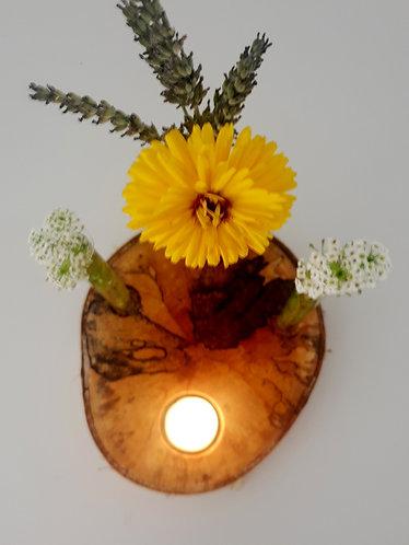 Birkenbaumscheibe - Teelicht uno + 3er Vase