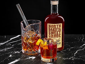 North Dakota Sweet Crude cocktail drink recipe, Crawford's Crude Manhattan