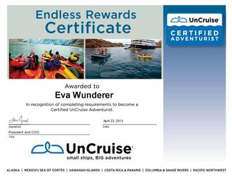 UnCruise Zertifikat