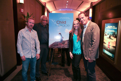 Actor/ producer, Thomas Hildreth with actor Ron Canada and Orange Is The New Black actress, Emma Myles at film festival screening for Child of Grace