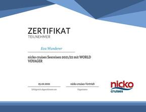 Nicko Cruises Zertifikat