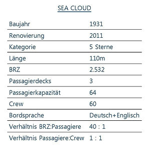 SEA CLOUD Schiffsdaten