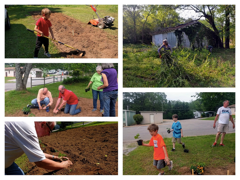 serving in our new community garden