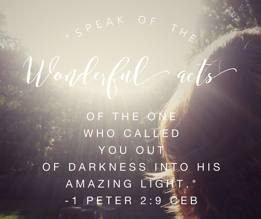 """""""...speak of the wonderful acts of the one who called you out of darkness into his amazing light."""" –1 Peter 2:9 CEB"""