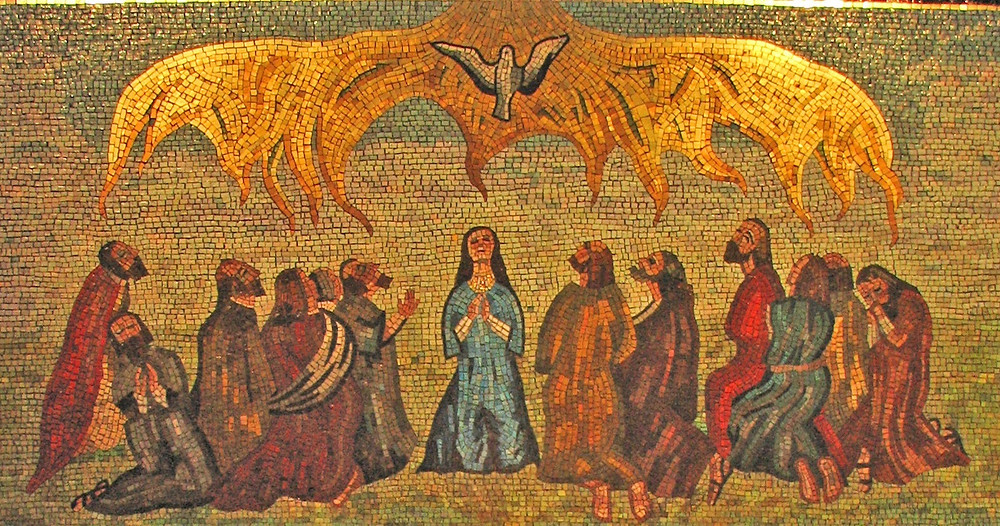 """Image: """"Descent of the Holy Spirit at Pentecost,"""" detail of mosaic by Anna Wyner at Our Lady of Walsingham. Image by Lawrence OP via Flickr licensed under CC BY-NC 2.0."""