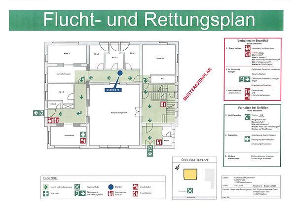 Flucht- und Rettungsplan Musterexemplar.
