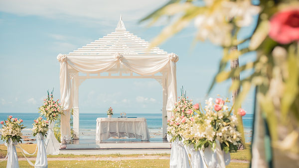 A setup for destination all inclusive beach wedding abroad