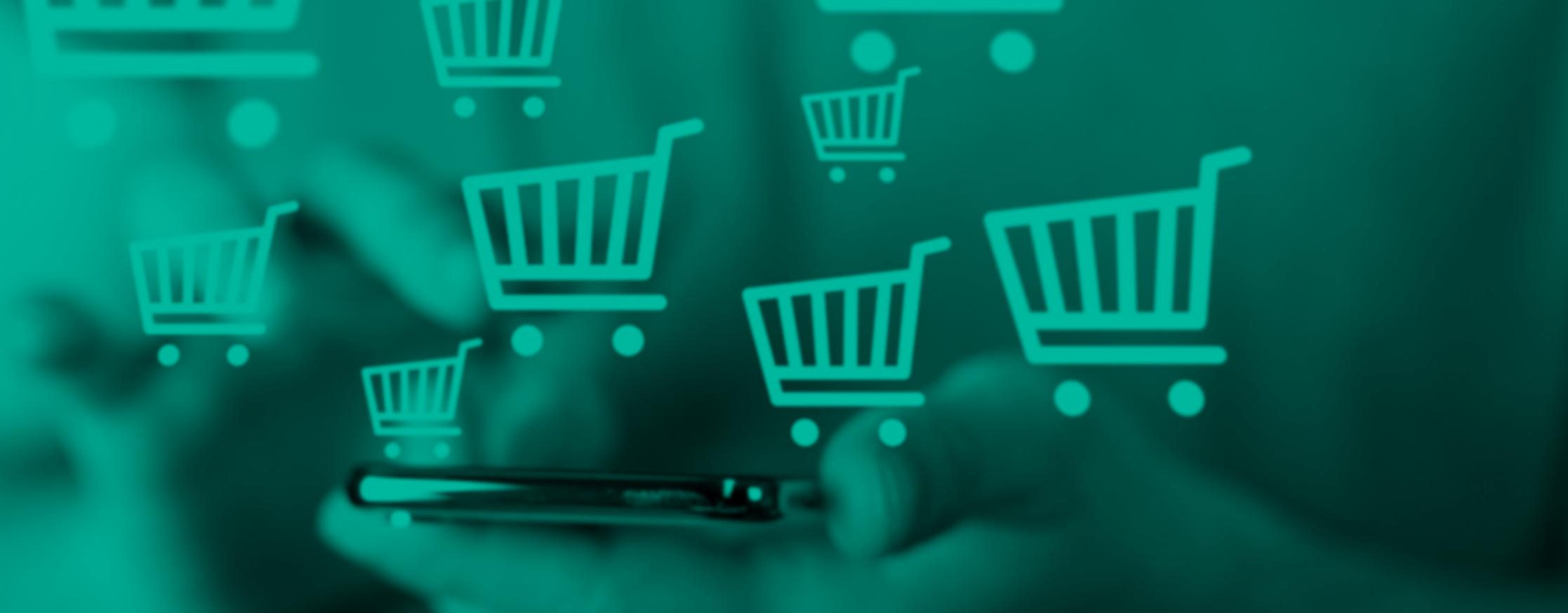 compra online com carrinhos de compra em 3D