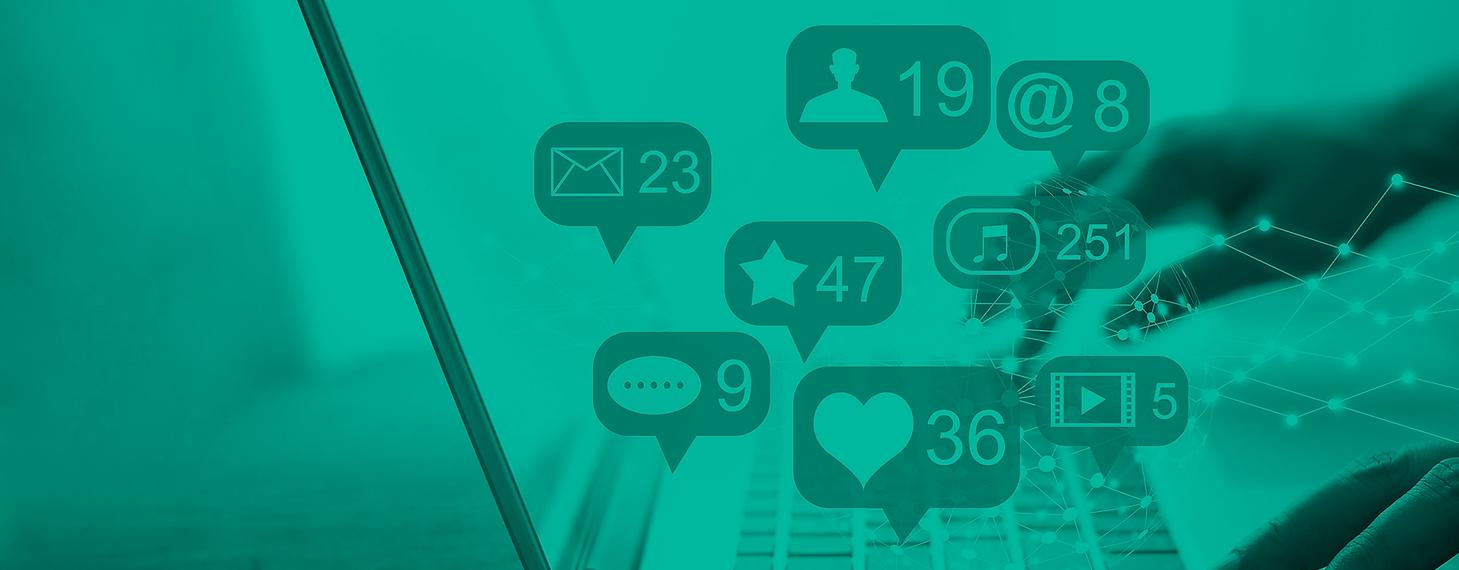 redes sociais e marketing digital com balões de likes.