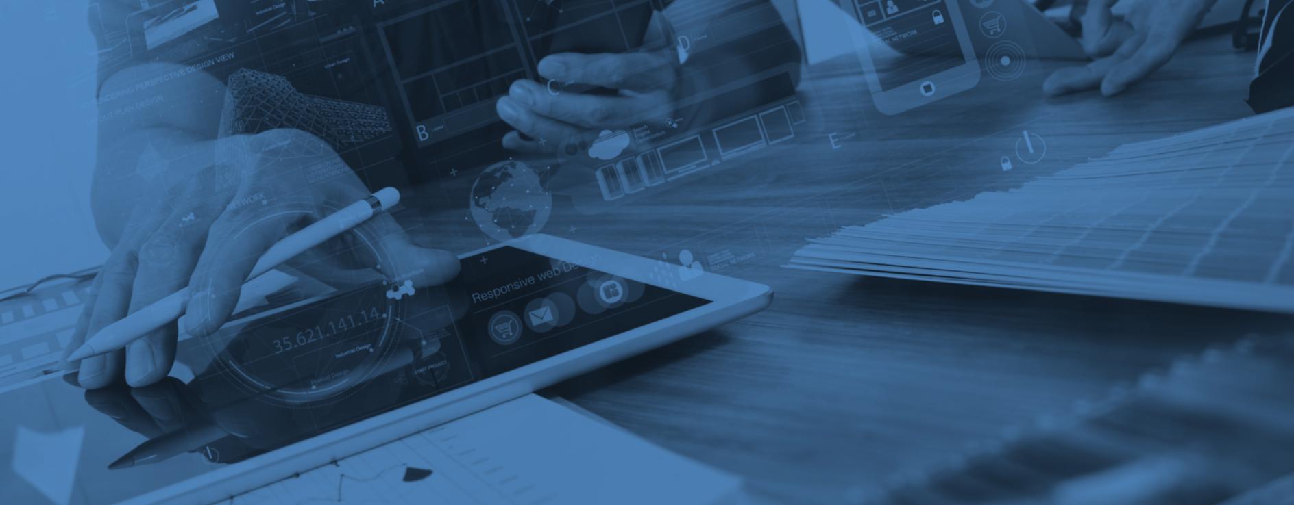 imagem de branding, tablets com informação 3D.