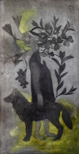 Theresia A. Sitompul, Who Follows Whom, 2020 drypoint on plat metal galvalum, 240 x 120 cm