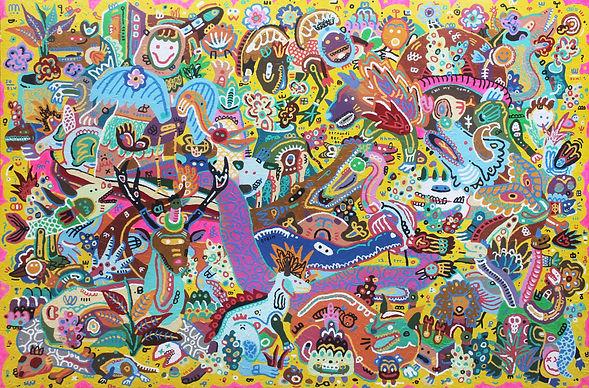 Bernandi Desanda Waiting The Right Moment. (Slow But Sure) | 2020 mixed media on canvas | 200 x 300 cm