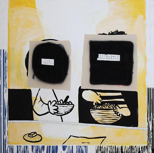 Irskiy The Odd Couple, 2019, acrylic, enamel, aerosol, oil pastel and mosaic tiles on canvas, 190 x 190 cm