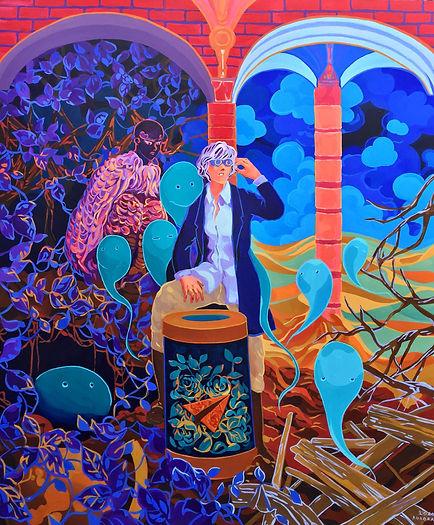Aurora santika, The Explorer at the Crossroad of Infinite Possibilities, 2020, acrylic on canvas, 180 x 150 cm