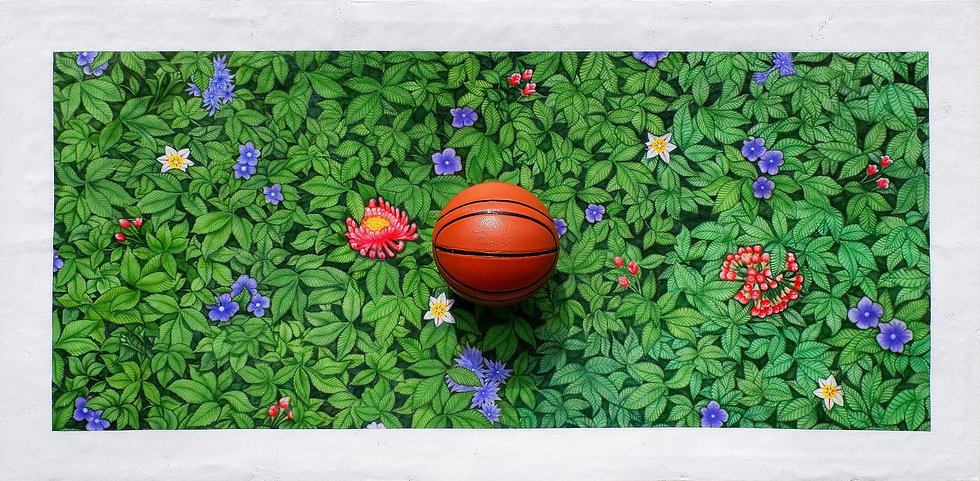 Entang Wiharso, Painting Hit by a Basketball, 2020, Car Paint on Aluminum, 98 x 196 x 31 c