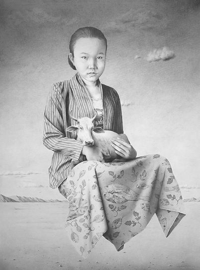 Garis Edelweis, Angon, 2020, Graphite on Canvas, 170 x 130 cm