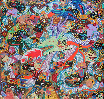 Bernandi Desanda, See The World Through The Eyes of Wonder, 2020, mixed media on canvas, 200 x 200 cm
