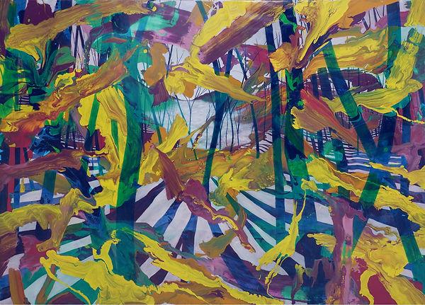 Restu Taufik Akbar, HOL(Y)DAY 'PARALLAX', 2019, enamel, vitrail, oil on canvas, 150 x 200 cm