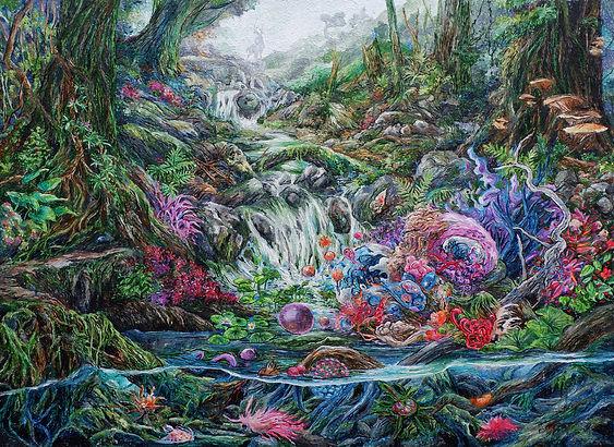 Galih Reza Suseno Mencari Pendar Niskala   2020 acrylic on canvas   180 x 300 cm.