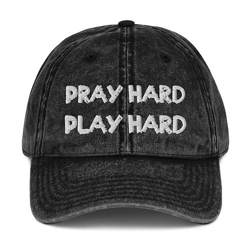 LUSU Designs Vintage Cotton Twill Cap Collection Pray/Play Hard Blanco Label