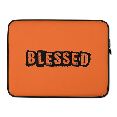 LUSU Designs Laptop Sleeve Collection Blessed Noir Label Orange