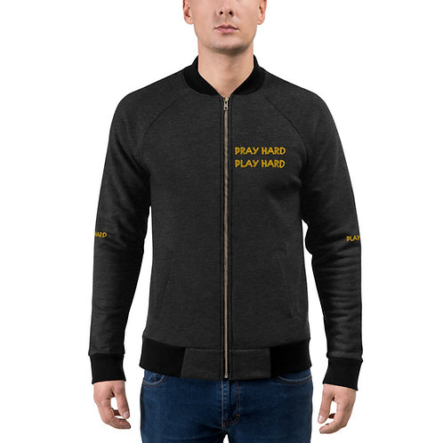 LUSU Designs Bomber Jacket Collection Pray Hard Play Hard 2 Midas Label III