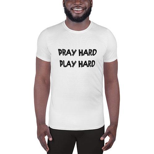 LUSU Designs Men's Athletic T-shirt Pray Hard Play Hard Noir Label I