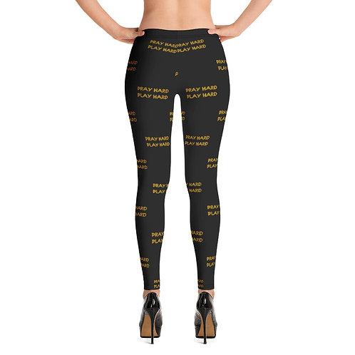 LUSU Designs Women's Leggings Pray Hard Play Hard Midas Label V