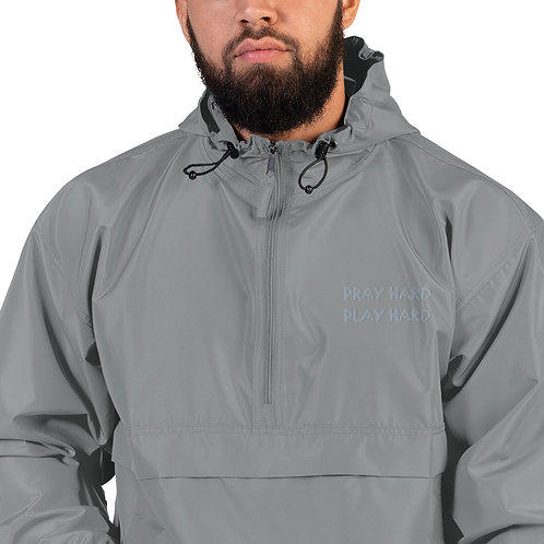 LUSU Designs Embroidered Packable Jacket Collection Pray Hard Platinum Label