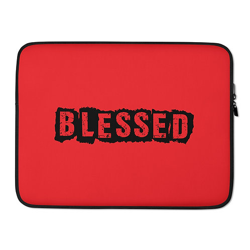 LUSU Designs Laptop Sleeve Collection Blessed Noir Label Red