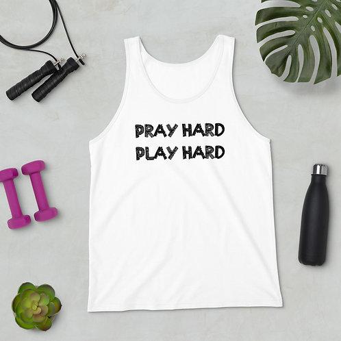 LUSU Designs Unisex Tank Top Collection Pray Hard Play Hard Noir Label