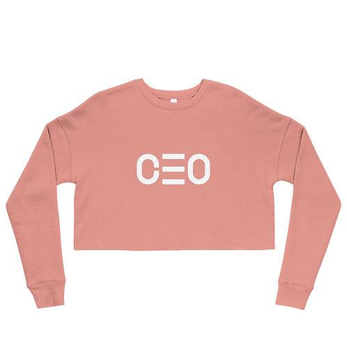 LUSU Designs Crop Sweatshirt Collection CEO Blanco Label